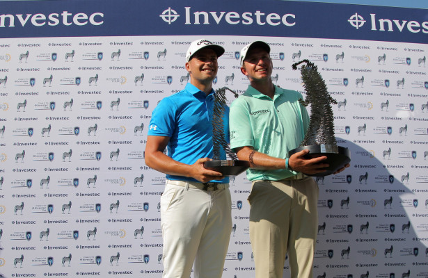 KOSTER, SOUTH AFRICA - MARCH 12: Haydn Porteous and Dean Burmester during the trophy presentation during day 4 of the 2016 Investec Cup at Millvale Private Retreat on March 12, 2016 in Koster, South Africa. EDITOR'S NOTE: For free editorial use. Not available for sale. No commercial usage. (Photo by Petri Oeschger/Sunshine Tour/Gallo Images)