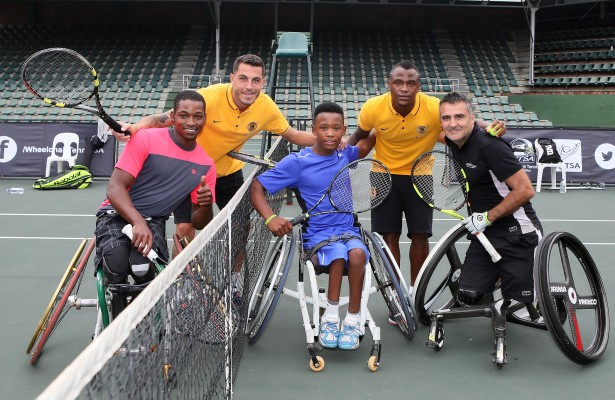 JOHANNESBURG, SOUTH AFRICA - APRIL 05: Wheelchair tennis players, Evans Maripa, Alwande Skhosana and Stephane Houdet (FRA) played an exhibition match with Kaizer Chiefs players Daniel Cardoso and Tsepo Masilela during day 1 of the ACSA SA Wheelchair Tennis Open at the Ellis Park Tennis Stadium on April 05, 2016 in Johannesburg, South Africa. (Photo by Reg Caldecott/Gallo Images)