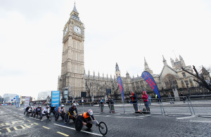 LONDON, ENGLAND - APRIL 24:  The Men's Elite wheelchair lead group head past Big Ben  during the Virgin Money London Marathon on April 24, 2016 in London, England.  (Photo by Joel Ford/Getty Images)
