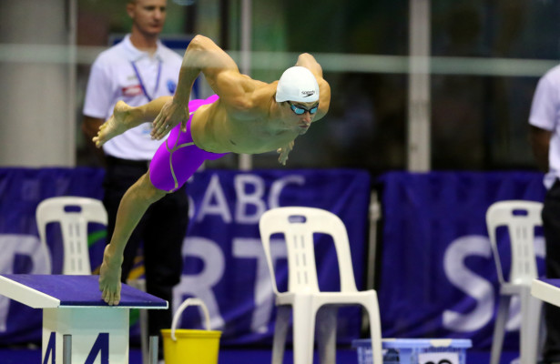 DURBAN, SOUTH AFRICA - APRIL 15: during the finals session on day 6 of the SA National Aquatic Championships and Olympic Trials  on April 15 , 2016  at the Kings Park Aquatic Center pool in Durban, South Africa.  Photo Credit / Anesh Debiky/Swim SA