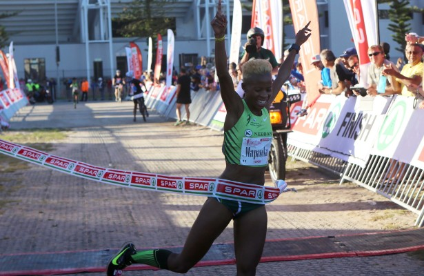 CAPE TOWN, SOUTH AFRICA - MARCH 29: Mapaseka Makhanya wins the race during the SPAR Women's 10km Challenge from Greenpoint Common on March 29, 2015 in Cape Town, South Africa. (Photo by Reg Caldecott/Gallo Images)