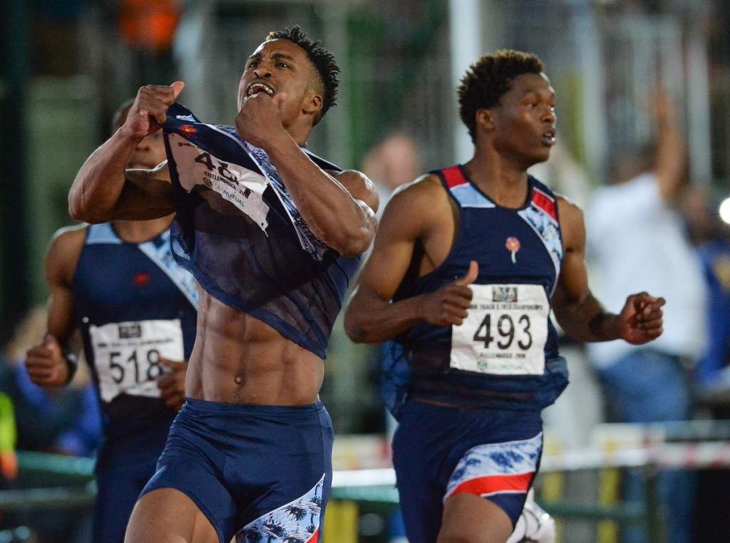 STELLENBOSCH, SOUTH AFRICA - APRIL 15: Henricho Bruintjies of AGN wins the mens 100m final during day 1 of the 2016 National Track & Field Championship at Coetzenburg Stadium on April 15, 2016 in Stellenbosch, South Africa. (Photo by Roger Sedres/Gallo Images)