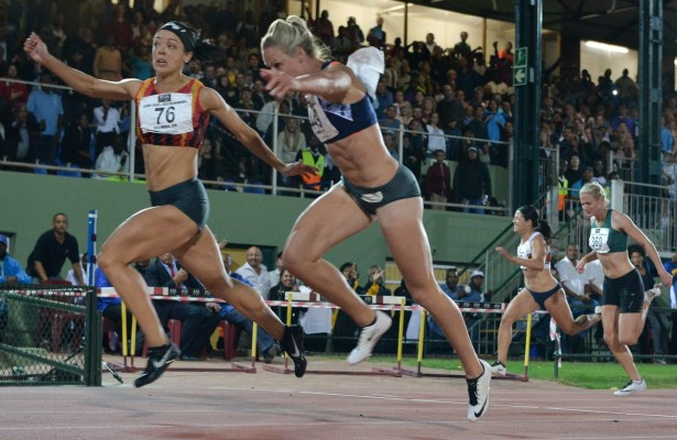 STELLENBOSCH, SOUTH AFRICA - APRIL 15: Alyssa Conley of CGA wins the women's 100m final ahead of Carina Horn (449) during day 1 of the 2016 National Track & Field Championship at Coetzenburg Stadium on April 15, 2016 in Stellenbosch, South Africa. (Photo by Roger Sedres/Gallo Images)