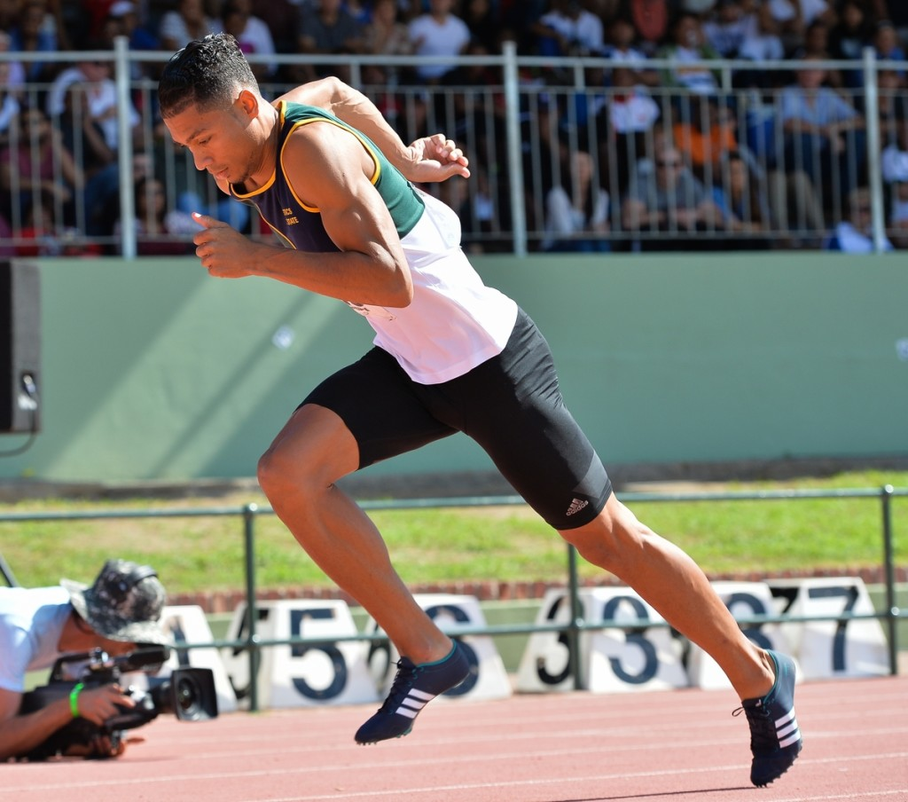 STELLENBOSCH, SOUTH AFRICA - APRIL 16: Wayde van Niekerk of Free State gets out of the blocks in the mens 400m final during day 2 of the 2016 National Track & Field Championship at Coetzenburg Stadium on April 16, 2016 in Stellenbosch, South Africa. (Photo by Roger Sedres/Gallo Images)