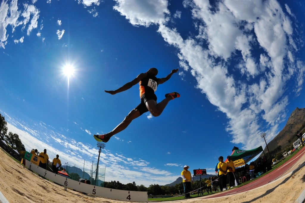 STELLENBOSCH, SOUTH AFRICA - APRIL 16: Ruswahl Samaai of CGA in mens long jump during day 2 of the 2016 National Track & Field Championship at Coetzenburg Stadium on April 16, 2016 in Stellenbosch, South Africa. (Photo by Roger Sedres/Gallo Images)