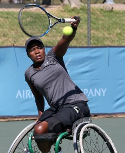 BENONI, SOUTH AFRICA - MARCH 31: Kgothatso Montjane,the seventh seed of South Africa in action against Lola Ochoa (ESP) in the women's singles during day 2 of the ACSA Gauteng Wheelchair Tennis Open at Gauteng East Tennis Centre on March 31, 2016 in Benoni, South Africa. (Photo by Reg Caldecott/Gallo Images)