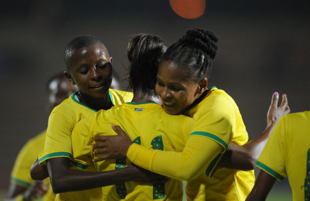 Sanah Mollo of South Africa celebrates a goal with teammates during the African Women Cup of Nations 2nd Roud 2nd Leg match between South Africa and Botswana on 12 April 2016 at Makhulong Stadium Pic Sydney Mahlangu/ BackpagePix