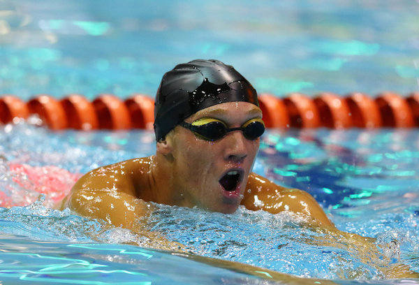 DURBAN, SOUTH AFRICA - APRIL 13: Jared Crous qualifies in the 200m breaststroke for men during the finals session on day 5 of the SA National Aquatic Championships and Olympic Trials  on April 13 , 2016  at the Kings Park Aquatic Center pool in Durban, South Africa.  Photo Credit / Anesh Debiky/Swim SA