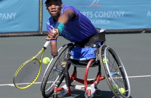 BENONI, SOUTH AFRICA - MARCH 31: Lucas Sithole, the third seed of the South Africa in action against Bryan Barten (USA) in the quads singles during day 2 of the ACSA Gauteng Wheelchair Tennis Open at Gauteng East Tennis Centre on March 31, 2016 in Benoni, South Africa. (Photo by Reg Caldecott/Gallo Images)