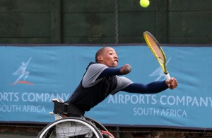 JOHANNESBURG, SOUTH AFRICA - APRIL 07: Lucas Sithole, the 3rd seed of South Africa in action against Jamie Burdekin (GBR) in the quads singles during day 3 of the ACSA SA Wheelchair Tennis Open at the Ellis Park Tennis Stadium on April 07, 2016 in Johannesburg, South Africa. (Photo by Reg Caldecott/Gallo Images)