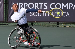 JOHANNESBURG, SOUTH AFRICA - APRIL 08: Lucas Sithole of South Africa in action against Dylan Alcott (AUS) in the quads semifinals during day 4 of the ACSA SA Wheelchair Tennis Open at the Ellis Park Tennis Stadium on April 08, 2016 in Johannesburg, South Africa. (Photo by Reg Caldecott/Gallo Images)