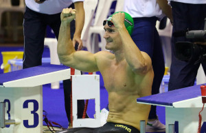 DURBAN, SOUTH AFRICA - APRIL 13: Camwron van den Burgh on his way to a Olympic Qualifying time in the 200m breast stroke for men l during the finals session on day 4 of the SA National Aquatic Championships and Olympic Trials  on April 13 , 2016  at the Kings Park Aquatic Center pool in Durban, South Africa.  Photo Credit / Anesh Debiky/Swim SA