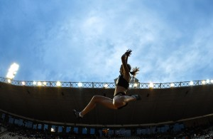 PRETORIA, SOUTH AFRICA - MARCH 08: Lynique Prinsloo in the women's long jump during the ASA Night Series at Pilditch Stadium on March 08, 2016 in Pretoria, South Africa. (Photo by Roger Sedres/Gallo Images)
