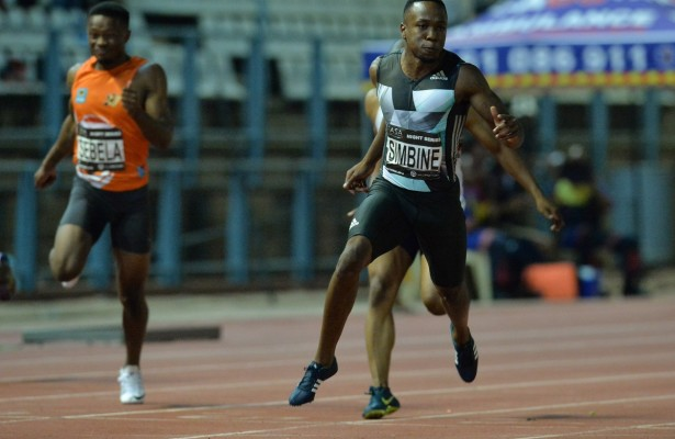 PRETORIA, SOUTH AFRICA - MARCH 08: Akani Simbine in the mens 100m during the ASA Night Series at Pilditch Stadium on March 08, 2016 in Pretoria, South Africa. (Photo by Roger Sedres/Gallo Images)