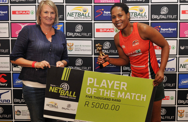 Player of the match Zukelwa Chaba of the Aloes  during the 2016 Brutal Fruit Netball Premier League match between Aloes and Baobabs at Olive Convention Centre, Durban in Kwa-Zulu Natal South Africa on 22 May, 2016 ©Muzi Ntombela/BackpagePix