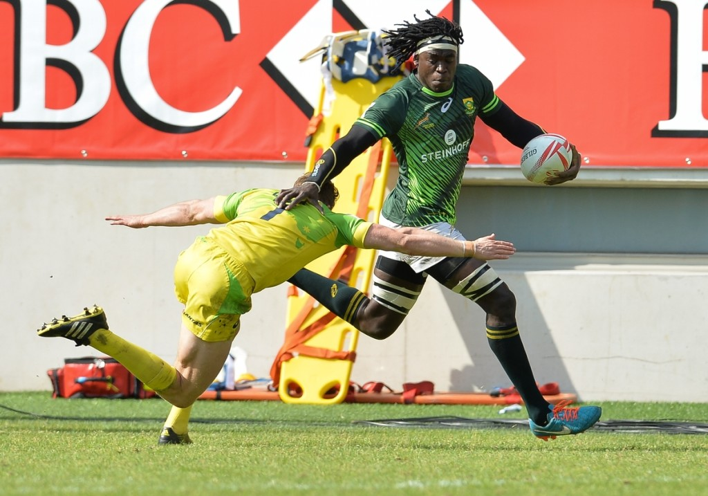 PARIS, FRANCE - MAY 15: Tim Agaba of South Africa during the Plate final between South Africa and Australia on day 3 of the HSBC World Rugby Sevens France at Stade Jean Bouin on May 15, 2016 in Paris, France. (Photo by Roger Sedres/Gallo Images)