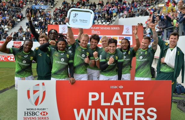 PARIS, FRANCE - MAY 15: the Springbok 7's with the plate during the Plate final between South Africa and Australia on day 3 of the HSBC World Rugby Sevens France at Stade Jean Bouin on May 15, 2016 in Paris, France. (Photo by Roger Sedres/Gallo Images)