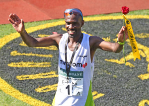 KWA-ZULU NATAL, SOUTH AFRICA - MAY 29:  David Gatebe wins the mens race  during the Comrades Marathon 2016 from Pietermaritzburg to Durban on May 29, 2016 in Kwa-Zulu Natal, South Africa. (Photo by Anesh Debiky/Gallo Images)