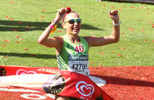 KWA-ZULU NATAL, SOUTH AFRICA - MAY 29:  Charne Bosman wins the womens race   during the Comrades Marathon 2016 from Pietermaritzburg to Durban on May 29, 2016 in Kwa-Zulu Natal, South Africa. (Photo by Anesh Debiky/Gallo Images)