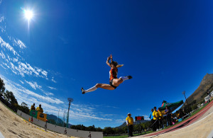STELLENBOSCH, SOUTH AFRICA - APRIL 16: Lynique Prinsloo of CGA in the women's long jump during day 2 of the 2016 National Track & Field Championship at Coetzenburg Stadium on April 16, 2016 in Stellenbosch, South Africa. (Photo by Roger Sedres/Gallo Images)