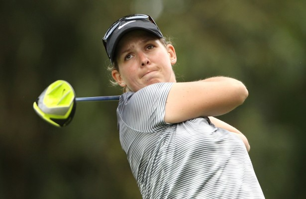 JOHANNESBURG, SOUTH AFRICA - JANUARY 25: Ashleigh Simon during day 1 of the Ladies Chase to Investec Cup at Houghton Golf Club on January 25, 2016 in Johannesburg, South Africa. EDITOR'S NOTE: For free editorial use. Not available for sale. No commercial usage. (Photo by Luke Walker/Sunshine Tour/Gallo Images)