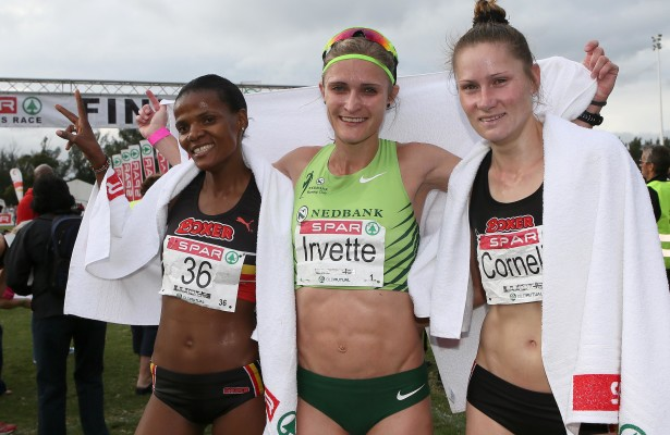 DURBAN, SOUTH AFRICA - JUNE 05: The top 3 finishers: Lebo-Diana Phalula (3rd), Irvette van Zyl (1st) and Cornelia Joubert (2nd) during the Spar Women's 10km Challenge at Growthpoint Kings Park on June 05, 2016 in Durban, South Africa. (Photo by Reg Caldecott/Gallo Images)