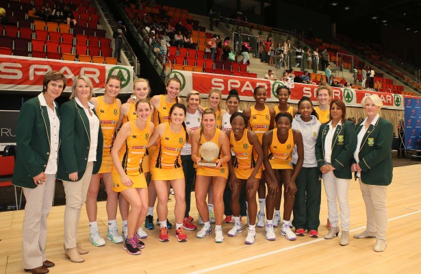 DURBAN, SOUTH AFRICA - JUNE 19: The triumphant South African team after they defeated Wales during the 2016 Spar Netball Challenge 3rd test match between South Africa and Wales at International Convention Centre on June 19, 2016 in Durban, South Africa. (Photo by Reg Caldecott/Gallo Images)