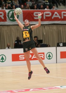 DURBAN, SOUTH AFRICA - JUNE 17: Erin Burger of South Africa in action against Wales during the 2016 Spar Netball Challenge 1st test match between South Africa and Wales at International Convention Centre on June 17, 2016 in Durban, South Africa. (Photo by Reg Caldecott/Gallo Images)