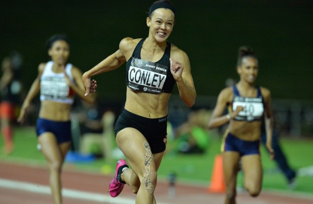 PRETORIA, SOUTH AFRICA - MARCH 08: Alyssa Conley of UJ in the women's 200m during the ASA Night Series at Pilditch Stadium on March 08, 2016 in Pretoria, South Africa. (Photo by Roger Sedres/Gallo Images)