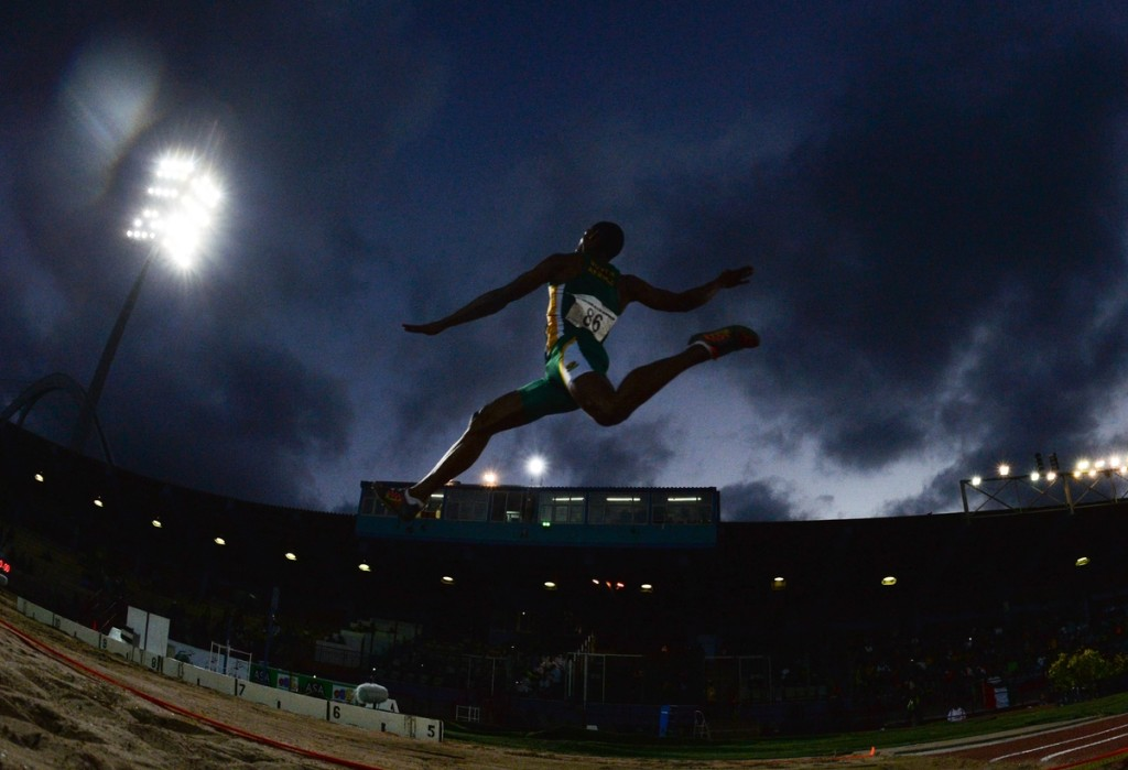 DURBAN, SOUTH AFRICA - JUNE 23: Ruswahl Samaai in the mens long jump final during the afternoon session on day 2 of the CAA 20th African Senior Championships at Kings Park Athletic stadium on June 23, 2016 in Durban, South Africa. (Photo by Roger Sedres/Gallo Images)