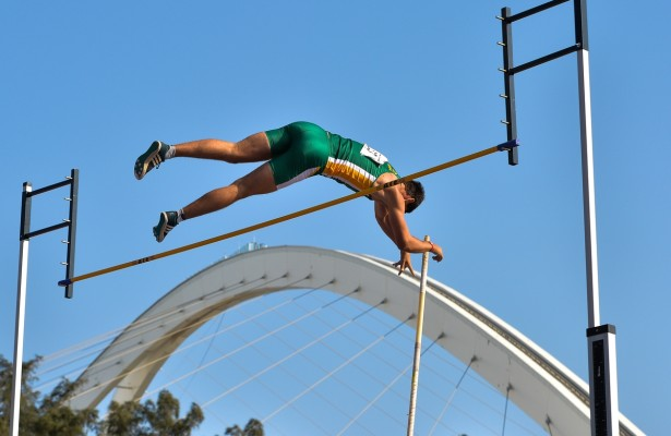DURBAN, SOUTH AFRICA - JUNE 23: Fredriech Pretorius of South Africa clears the cross bar in the pole-vault of the mens decathlon with the Moses Mabhida stadium in the background during the morning session on day 2 of the CAA 20th African Senior Championships at Kings Park Athletic stadium on June 23, 2016 in Durban, South Africa. (Photo by Roger Sedres/Gallo Images)