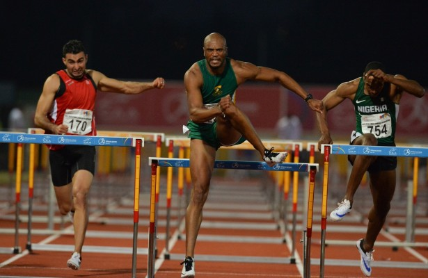 DURBAN, SOUTH AFRICA - JUNE 25: Antonio Alkana of South Africa wins the mens 110m hurdles  during the afternoon session on day 4 of the CAA 20th African Senior Championships at Kings Park Athletic stadium on June 25, 2016 in Durban, South Africa. (Photo by Roger Sedres/Gallo Images)