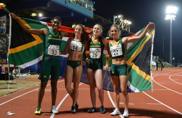 DURBAN, SOUTH AFRICA - JUNE 26: Caster Semenya, Jeanelle Griesel, Justine Palframan and Wenda Nel of the women's 4x400m relay team during the afternoon session on day 5 of the CAA 20th African Senior Championships at Kings Park Athletic stadium on June 26, 2016 in Durban, South Africa. (Photo by Roger Sedres/Gallo Images)