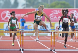 DURBAN, SOUTH AFRICA - JUNE 26: Wenda Nel clears the last hurdle in the women's 4x400m relay during the afternoon session on day 5 of the CAA 20th African Senior Championships at Kings Park Athletic stadium on June 26, 2016 in Durban, South Africa. (Photo by Roger Sedres/Gallo Images)
