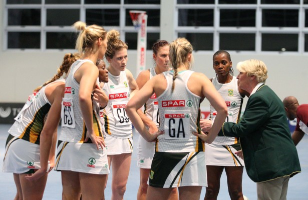 MARGATE, SOUTH AFRICA - JUNE 17: Norma Plummer, coach of SPAR South Africa speaks to her team in the match against Malawi during the day 2 of the Diamond Challenge netball tournament at UGU Sports Centre on June 17, 2015 in Margate, South Africa. (Photo by Reg Caldecott/Gallo Images)