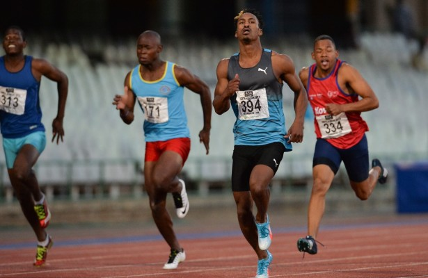 BLOEMFONTEIN, SOUTH AFRICA - MAY 06: Henricho Bruintjies wins the mens 100m final during the SA Open Athletic Championships at Mangaung Stadium on May 06 2016 in Bloemfontein, South Africa. (Photo by Roger Sedres/Gallo Images)