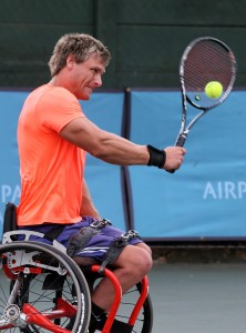 JOHANNESBURG, SOUTH AFRICA - APRIL 06: Leon Els of South Africa in action against Takashi Sanada (JPN) in the men's singles during day 2 of the ACSA SA Wheelchair Tennis Open at the Ellis Park Tennis Stadium on April 06, 2016 in Johannesburg, South Africa. (Photo by Reg Caldecott/Gallo Images)