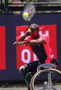 JOHANNESBURG, SOUTH AFRICA – DECEMBER 17: Evans Maripa of South Africa in action against Takuya Miki (JPN) in the mens final during day 4 of the ACSA Joburg Open at Ellis Park Tennis Stadium on December 17, 2015 in Johannesburg, South Africa. (Photo by Reg Caldecott/Gallo Images)