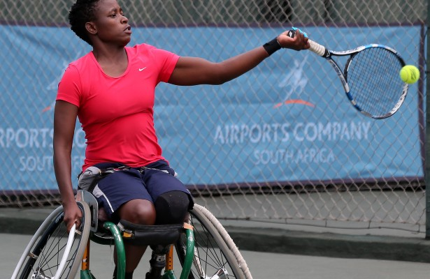 JOHANNESBURG, SOUTH AFRICA - APRIL 07: Kgothatso Montjane of South Africa in action against Jiske Griffioen (NED) in the women's singles during day 3 of the ACSA SA Wheelchair Tennis Open at the Ellis Park Tennis Stadium on April 07, 2016 in Johannesburg, South Africa. (Photo by Reg Caldecott/Gallo Images)