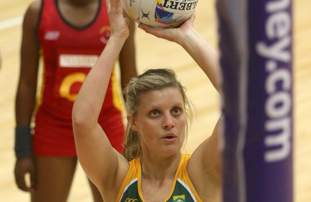 Maryka Holtzhausen of South Africa shoots for goal