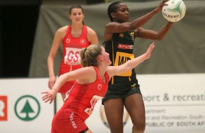 DURBAN, SOUTH AFRICA - JUNE 17: Precious Mthembu of South Africa in action against Wales during the 2016 Spar Netball Challenge 1st test match between South Africa and Wales at International Convention Centre on June 17, 2016 in Durban, South Africa. (Photo by Reg Caldecott/Gallo Images)