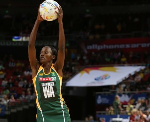 SYDNEY, AUSTRALIA - AUGUST 14: Bongiwe Msomi of South Africa in action during the match between South Africa and England on day 8 of Netball World Cup 2015 at Allphones Arena on August 14, 2015 in Sydney, Australia. (Photo by Reg Caldecott/Gallo Images)