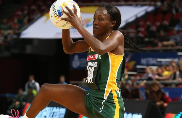 SYDNEY, AUSTRALIA – AUGUST 07: Bongiwe Msomi of South Africa in action during the match between South Africa and Malawi on day 1 of Netball World Cup 2015 at Allphones Arena on August 07, 2015 in Sydney, Australia. (Photo by Reg Caldecott/Gallo Images)