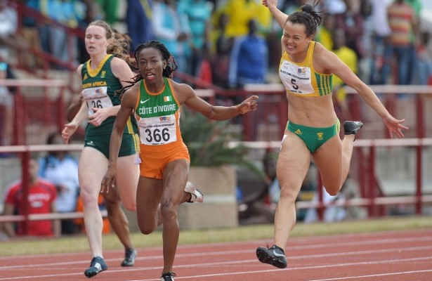 DURBAN, SOUTH AFRICA - JUNE 26: Marie Josee Ta Lou of Ivory Coast wins the women's 200m ahead of Alyssa Conley of South Africa during the afternoon session on day 5 of the CAA 20th African Senior Championships at Kings Park Athletic stadium on June 26, 2016 in Durban, South Africa. (Photo by Roger Sedres/Gallo Images)