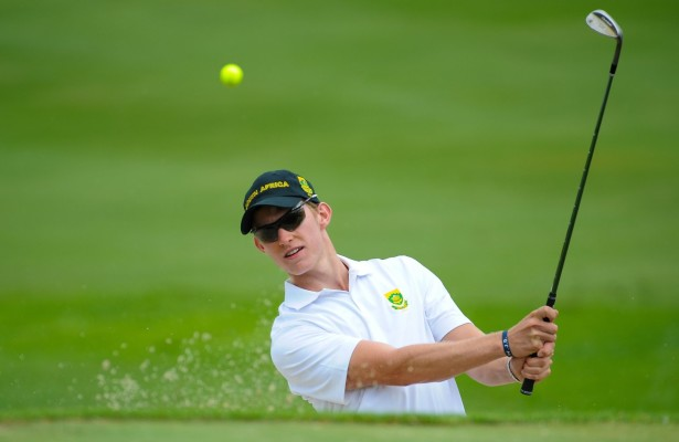 MALELANE, SOUTH AFRICA - Tuesday 17 February 2015, Jason Smith of South Africa plays out of the bunker during the practise round of the annual Leopard Trophy, a 2 day test between teams of the South African Golf Association and the ScottishGolf Union, at the Leopard Creek Golf Estate. Photo Roger Sedres/ Image SA