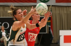 DURBAN, SOUTH AFRICA - JUNE 18: Lenize Potgieter of South Africa (L) and Kelly Morgan of Wales in action during the 2016 Spar Netball Challenge 2nd test match between South Africa and Wales at International Convention Centre on June 18, 2016 in Durban, South Africa. (Photo by Reg Caldecott/Gallo Images)