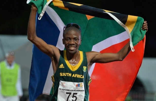 DURBAN, SOUTH AFRICA - JUNE 22: Stephen Mokoka of South Africa won the mens 10000m final during the afternoon session on day 1 of the CAA 20th African Senior Championships at Kings Park Athletic stadium on June 22, 2016 in Durban, South Africa. (Photo by Roger Sedres/Gallo Images)