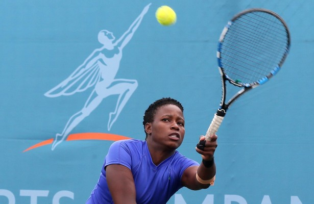 JOHANNESBURG, SOUTH AFRICA - APRIL 06: Kgothatso Montjane, the 8th seed of South Africa in action against Francisca Mardones (CHI) in the women's singles during day 2 of the ACSA SA Wheelchair Tennis Open at the Ellis Park Tennis Stadium on April 06, 2016 in Johannesburg, South Africa. (Photo by Reg Caldecott/Gallo Images)