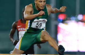 DURBAN, SOUTH AFRICA - JUNE 23: Cornel Fredericks of South Africa in the semi final of the mens 400m hurdles during the afternoon session on day 2 of the CAA 20th African Senior Championships at Kings Park Athletic stadium on June 23, 2016 in Durban, South Africa. (Photo by Roger Sedres/Gallo Images)