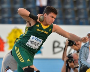 BYDGOSZCZ, POLAND - JULY 19: Burger Lambrechts of South Africa in the final of the mens shot put during the afternoon session on day 1 of the IAAF World Junior Championships at Zawisza Stadium on July 19, 2016 in Bydgoszcz, Poland. (Photo by Roger Sedres/Gallo Images)